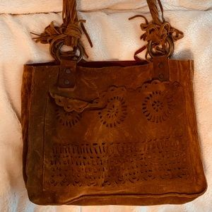 Suede purse vintage, brown